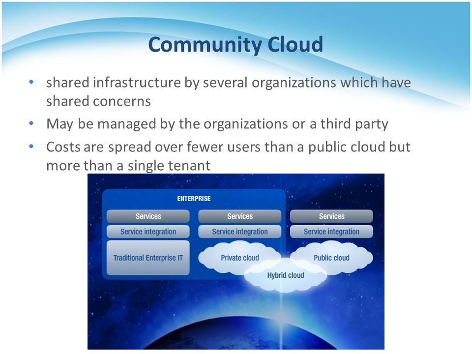 Community Cloud shared infrastructure by several organizations which have shared concerns. May be managed by the organizations or a third party.