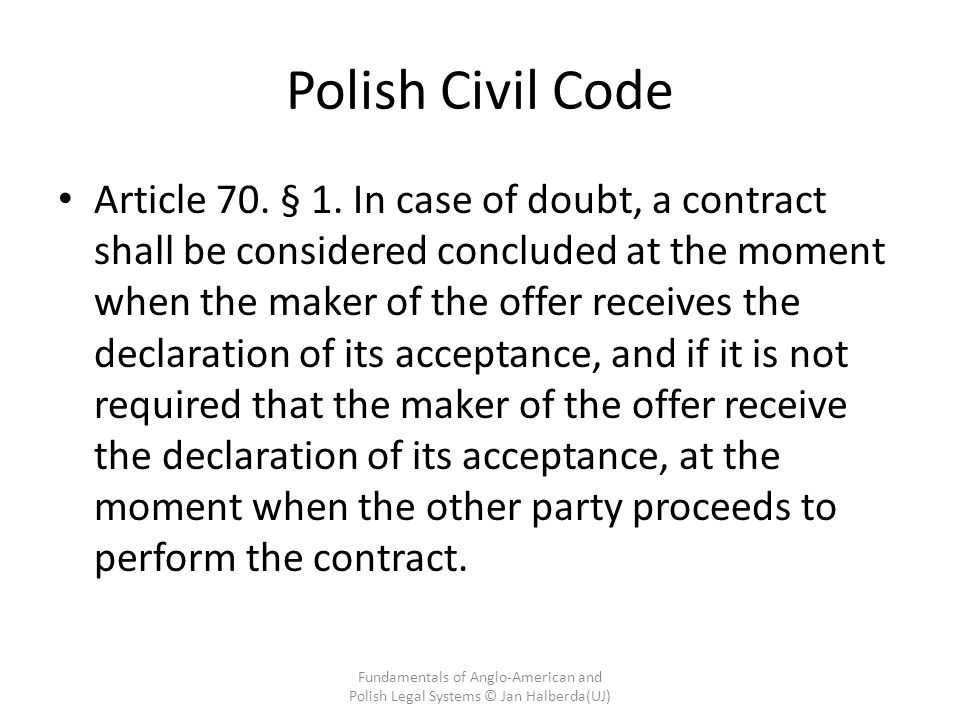 Fundamentals Of AngloAmerican And Polish Legal Systems Contract - Legal contract maker