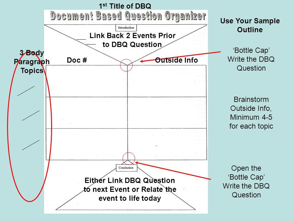 Use Your Sample Outline Link Back 2 Events Prior to DBQ Question