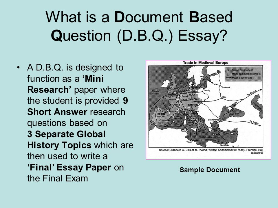 What is a Document Based Question (D.B.Q.) Essay