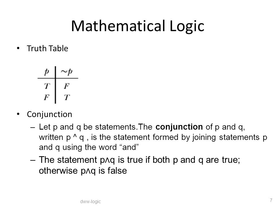 Mathematical Logic Truth Table Conjunction