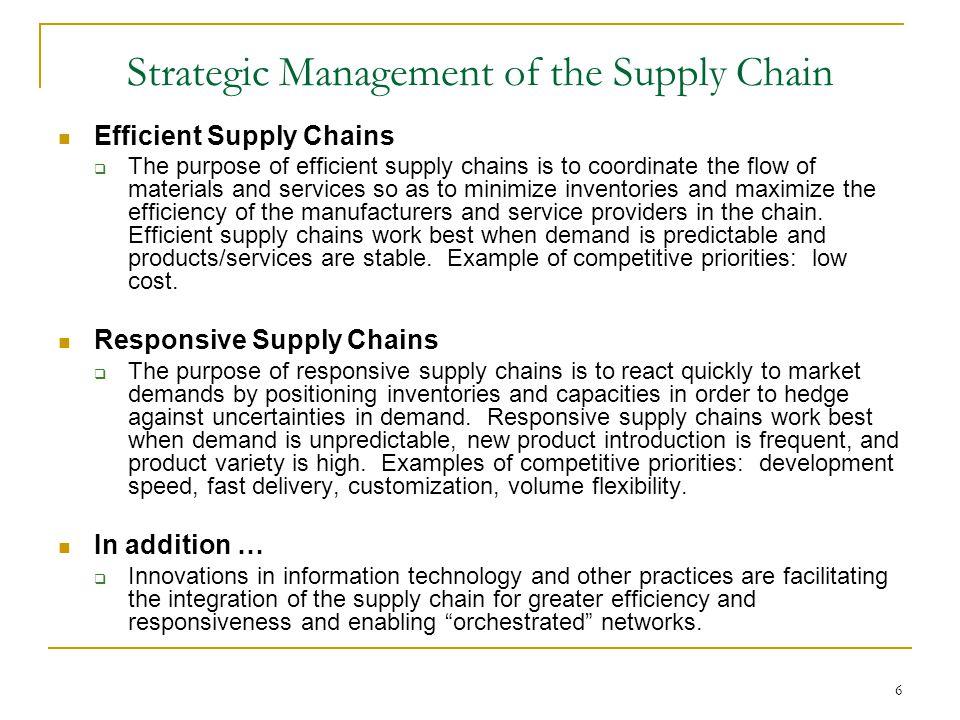 purpose of supply chain