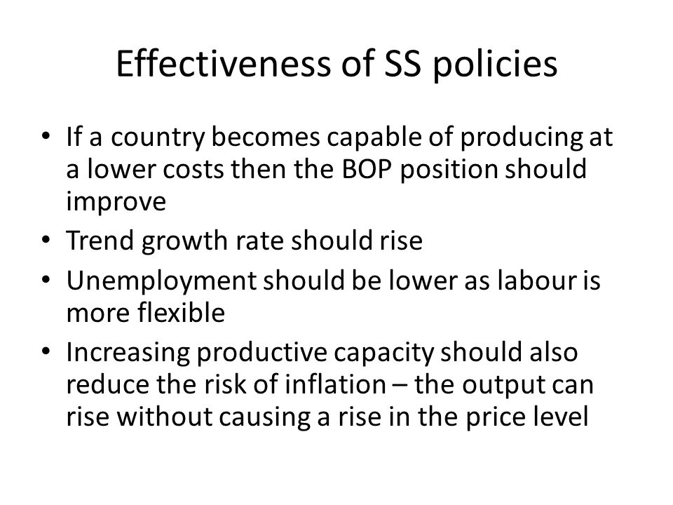 Effectiveness of SS policies
