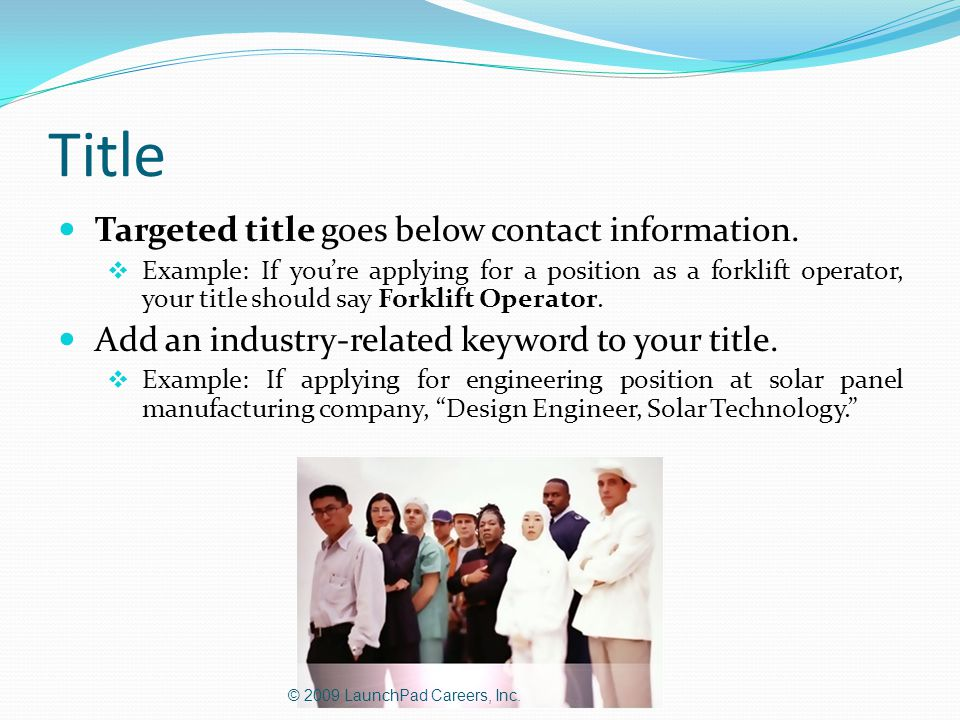 Title Targeted title goes below contact information.