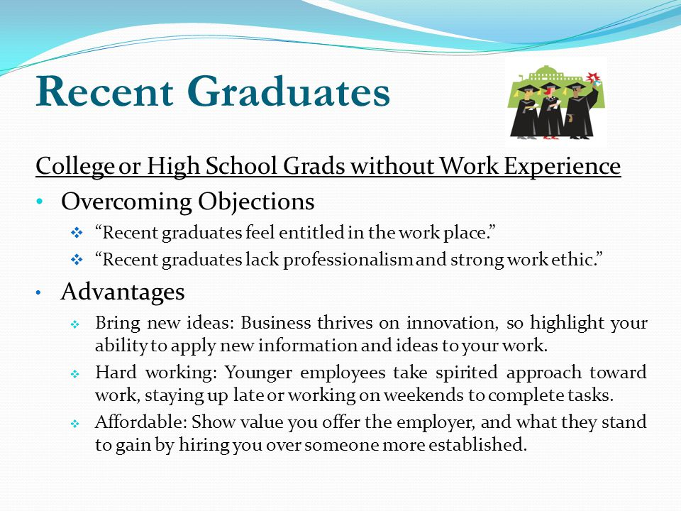 Recent Graduates College or High School Grads without Work Experience