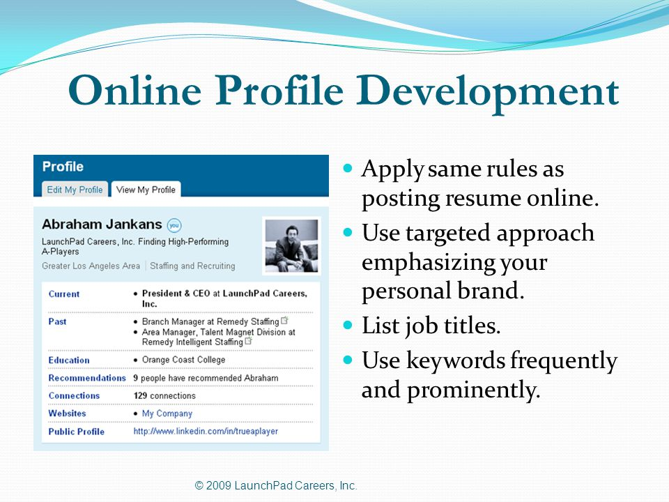 Online Profile Development