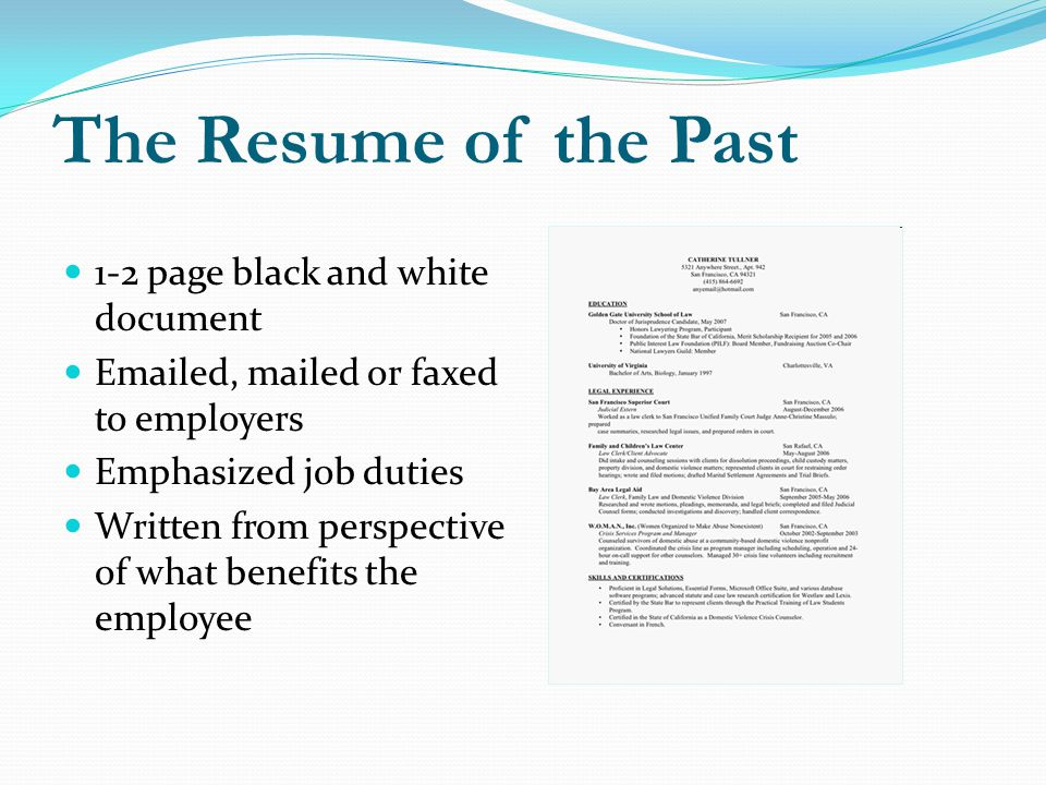 The Resume of the Past 1-2 page black and white document