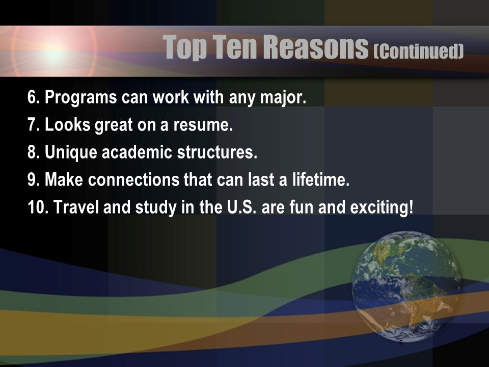 Top Ten Reasons (Continued)