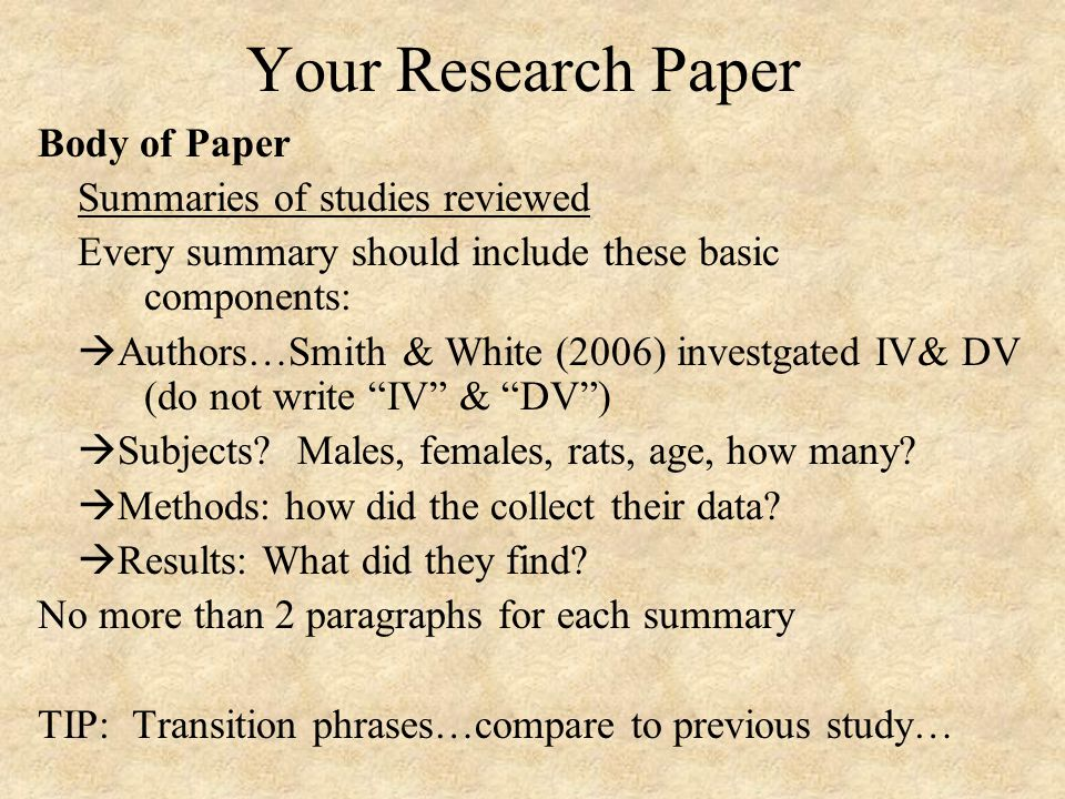 how to summarize a research paper