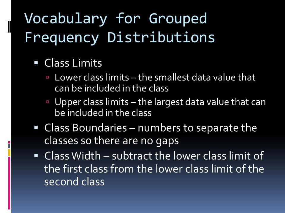 Vocabulary for Grouped Frequency Distributions