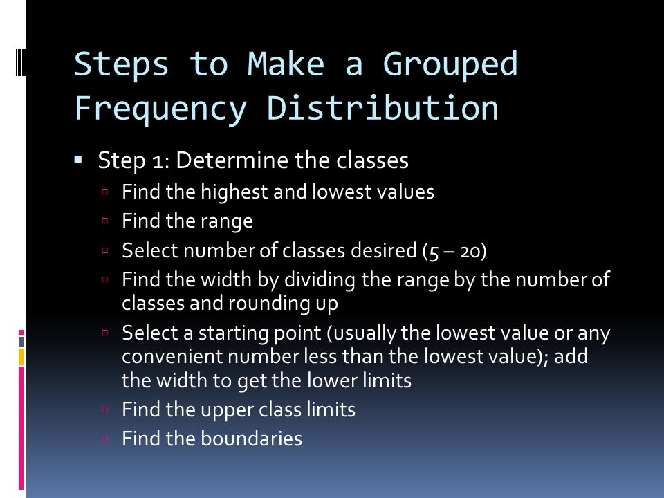 Steps to Make a Grouped Frequency Distribution