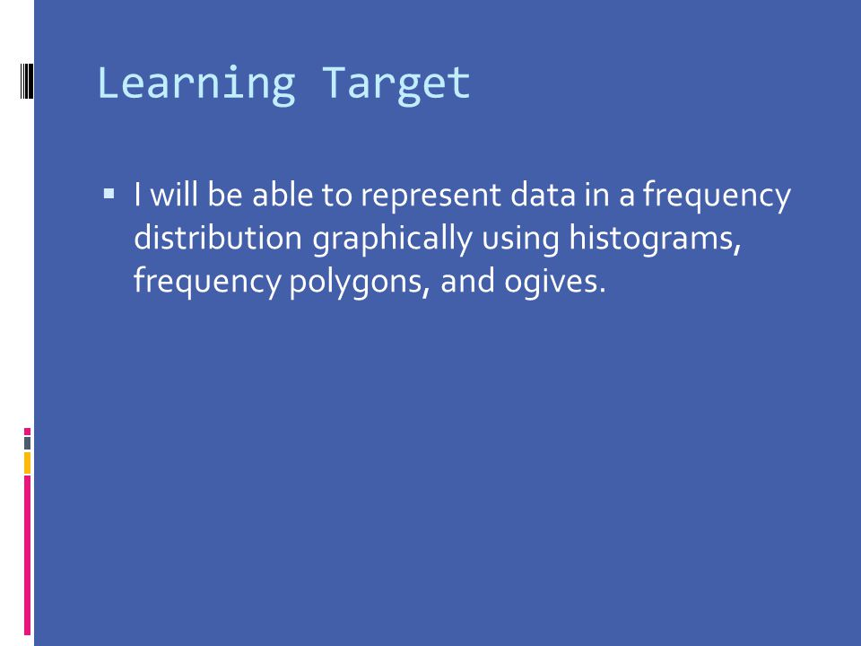 Learning Target I will be able to represent data in a frequency distribution graphically using histograms, frequency polygons, and ogives.