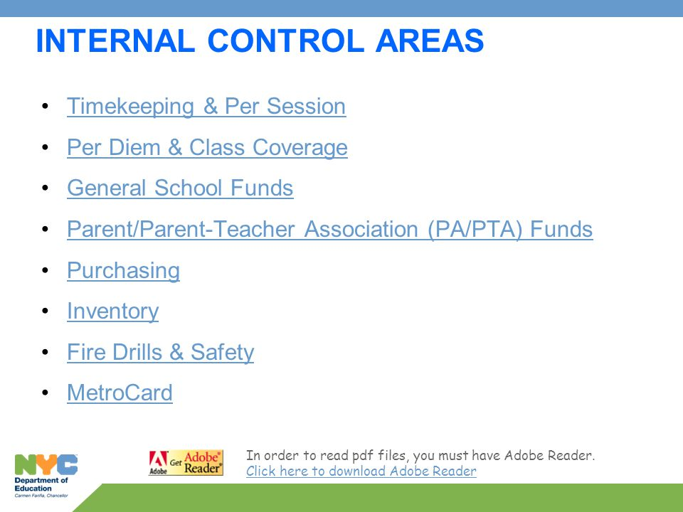 Internal Controls Training for CFN and School-based Staff