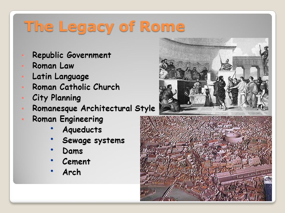 The Legacy of Rome Republic Government Roman Law Latin Language