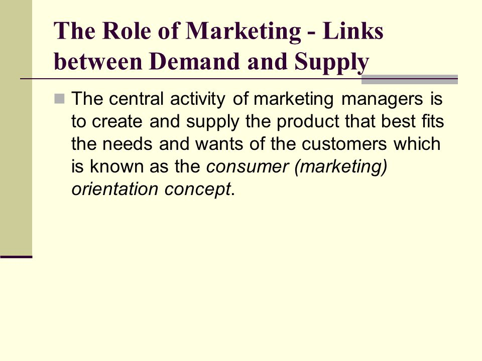 The Role of Marketing - Links between Demand and Supply