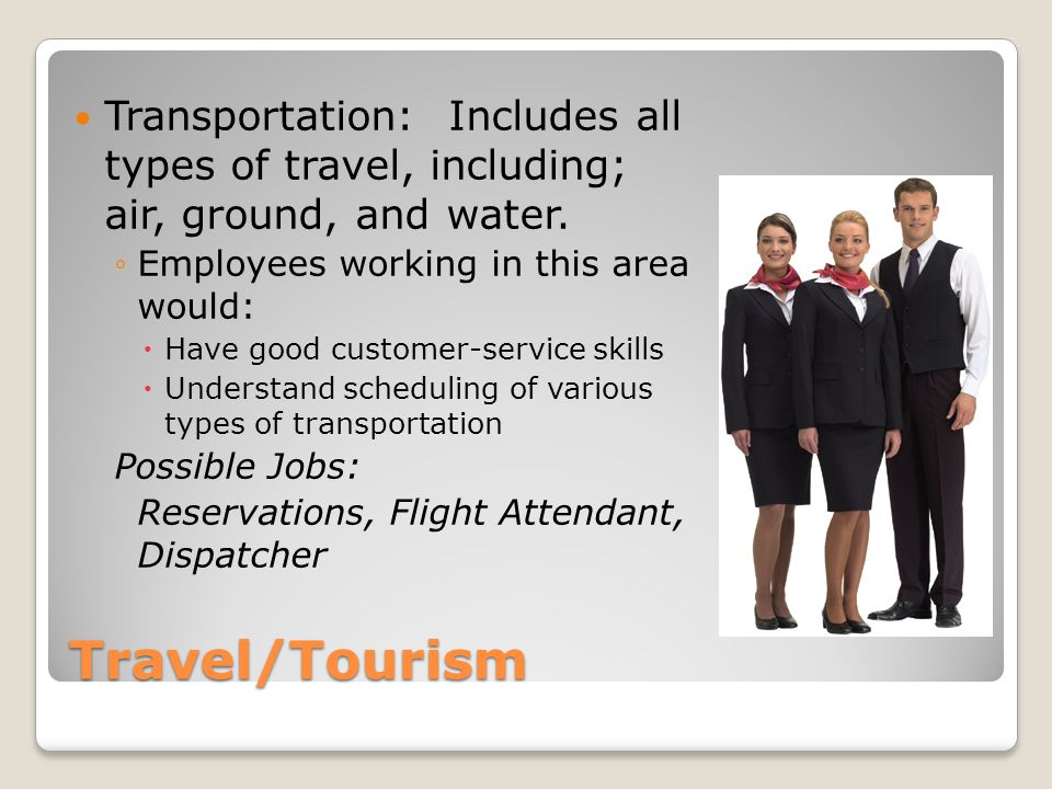 Transportation: Includes all types of travel, including; air, ground, and water.
