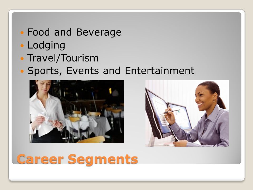 Career Segments Food and Beverage Lodging Travel/Tourism