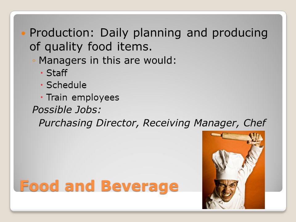 Production: Daily planning and producing of quality food items.