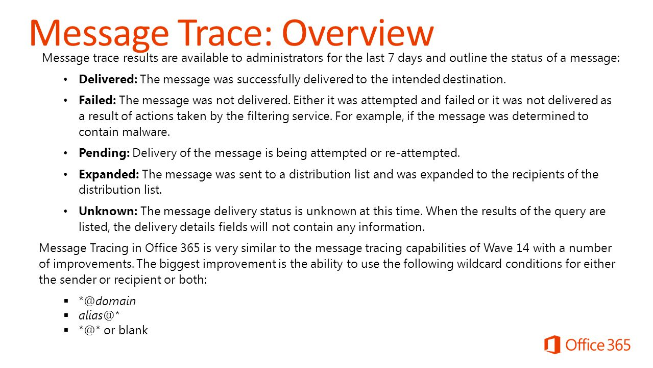 Message Trace Office 365 May ppt video online download