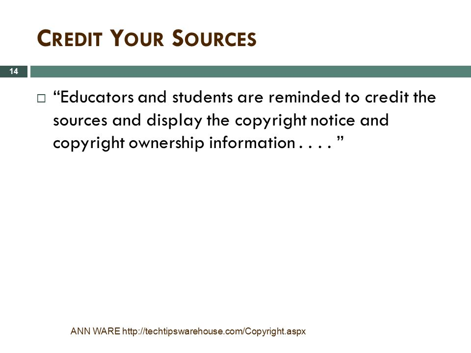 Credit Your Sources