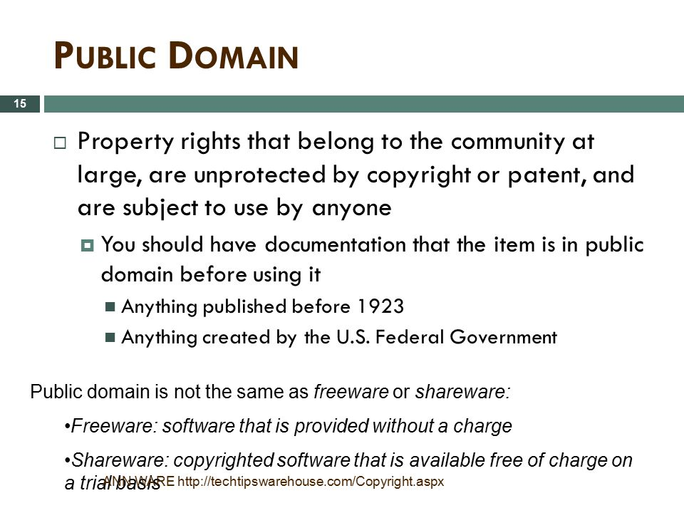 Public Domain Property rights that belong to the community at large, are unprotected by copyright or patent, and are subject to use by anyone.