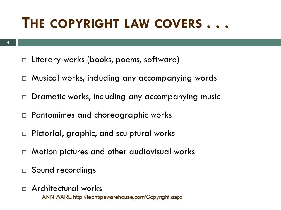 The copyright law covers . . .