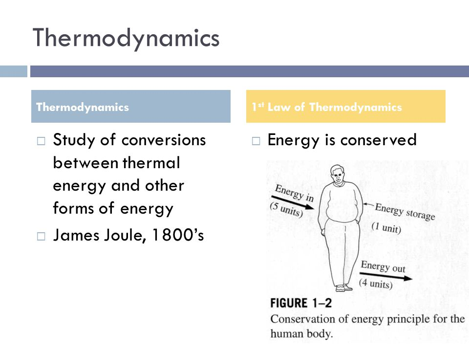 Thermodynamics Thermodynamics. 1st Law of Thermodynamics. Study of conversions between thermal energy and other forms of energy.