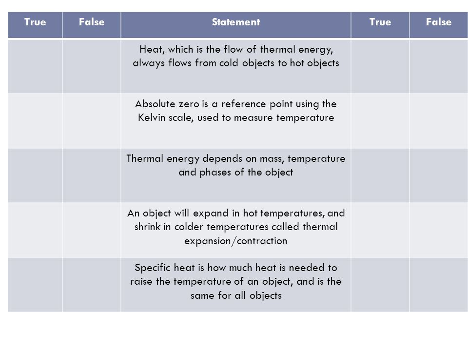 Thermal energy depends on mass, temperature and phases of the object