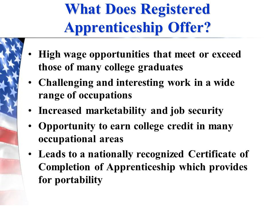 What Does Registered Apprenticeship Offer