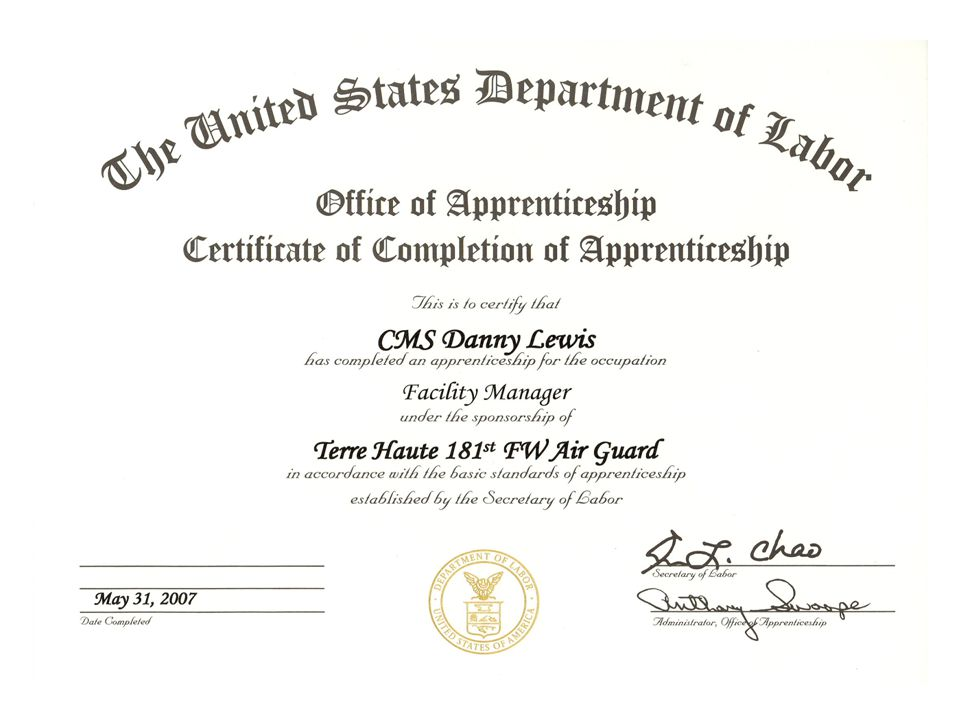This is what a Office of Apprenticeship Certificate of Completion of Apprenticeship looks like.