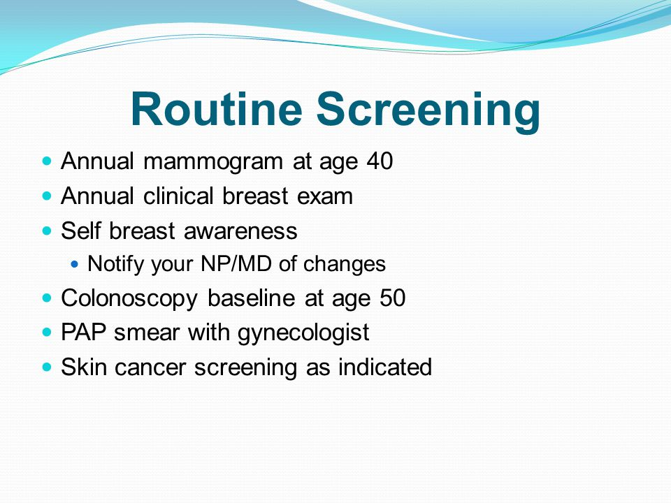 the value of annual screening breast exam The authors concluded mammography, which is x-ray screening of the breasts, doesn't reduce breast cancer deaths for women ages 40-59 beyond what a physical exam and usual care in the community.