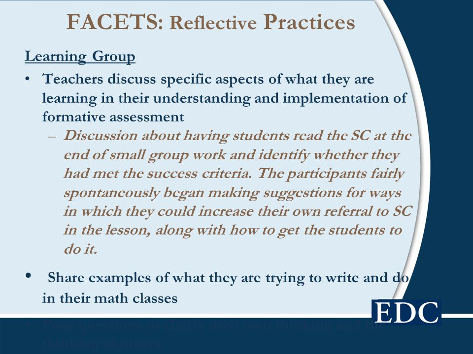 FACETS: Reflective Practices