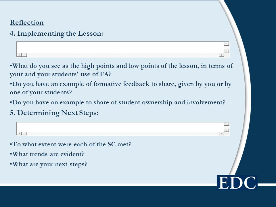 4. Implementing the Lesson: