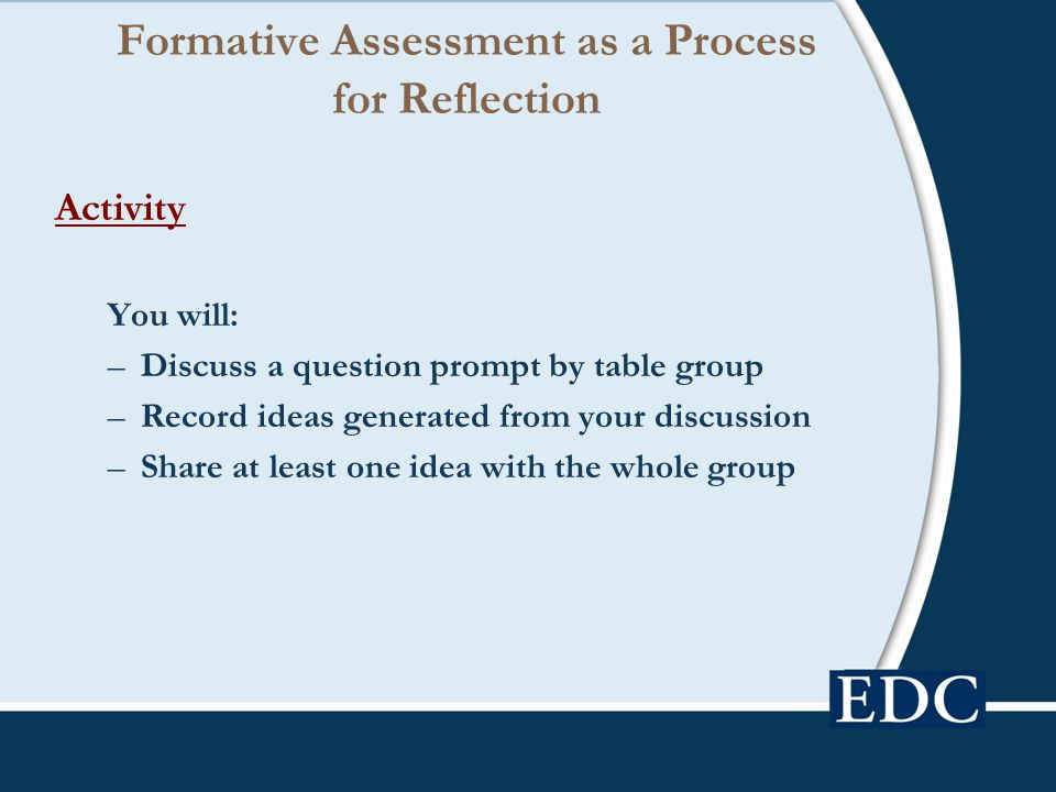 Formative Assessment as a Process for Reflection