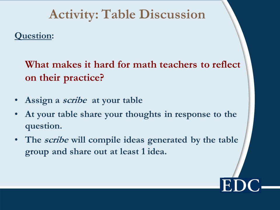 Activity: Table Discussion