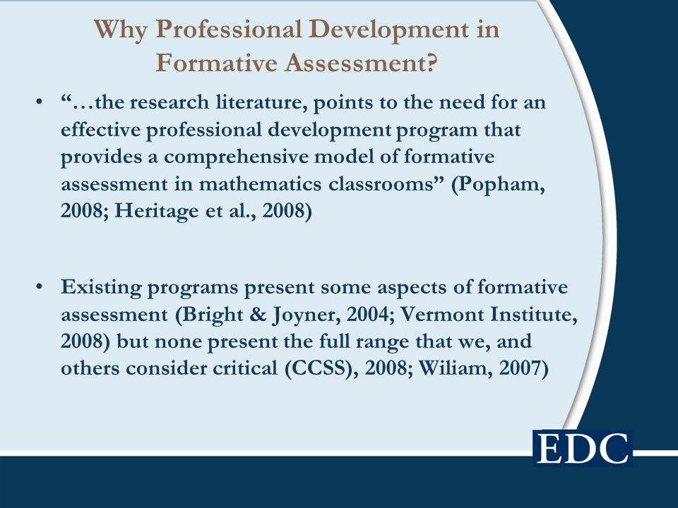 Why Professional Development in Formative Assessment