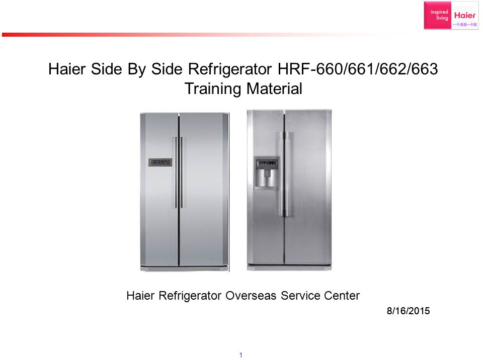 Haier Side By Side Refrigerator HRF-660/661/662/663 Training Material
