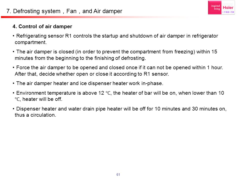 7. Defrosting system,Fan,and Air damper