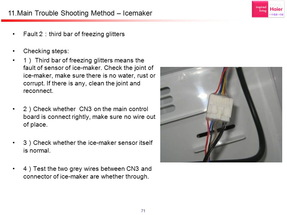 11.Main Trouble Shooting Method – Icemaker