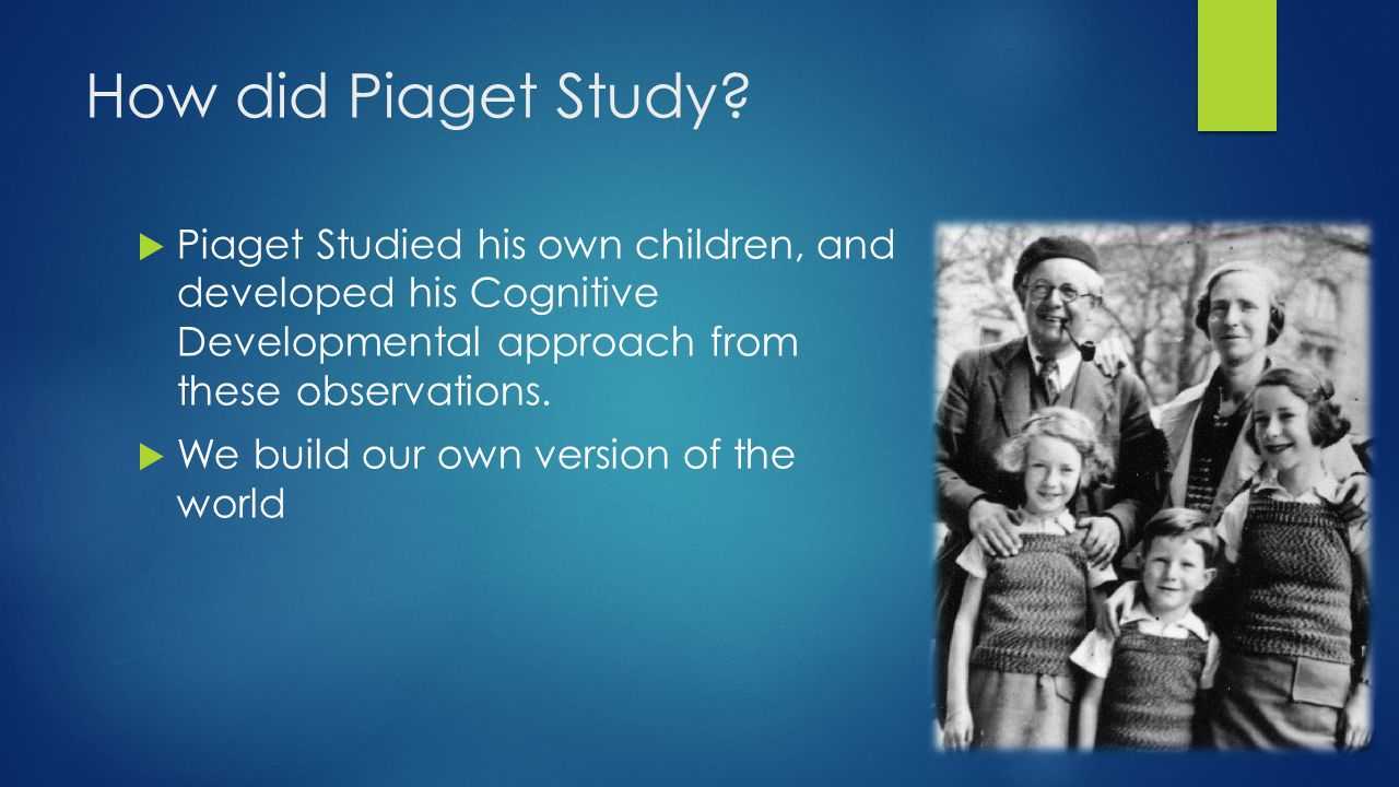 How did Piaget Study Piaget Studied his own children, and developed his Cognitive Developmental approach from these observations.