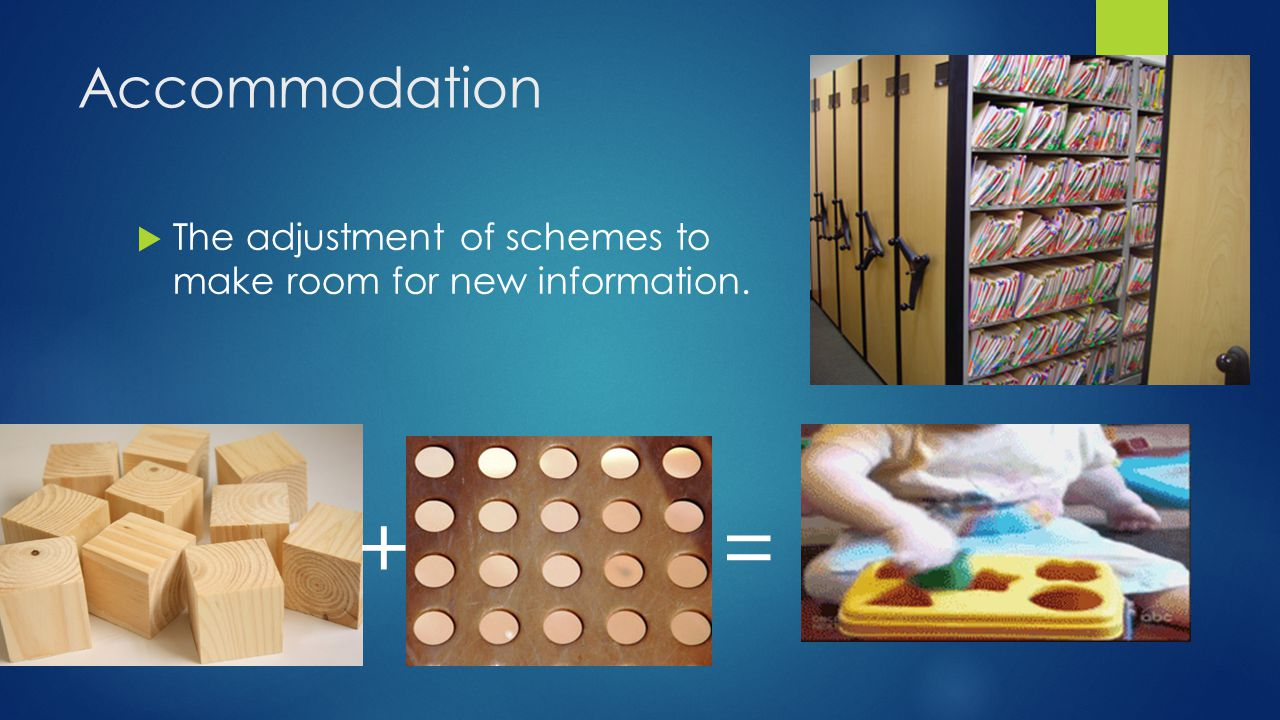 Accommodation The adjustment of schemes to make room for new information. + =