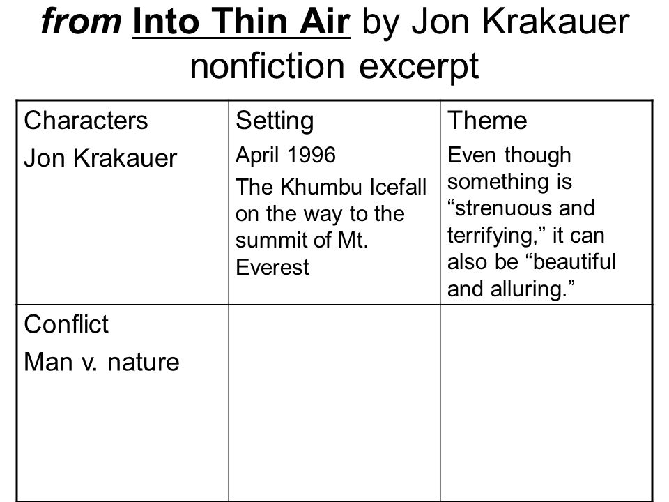 into thin air short summary