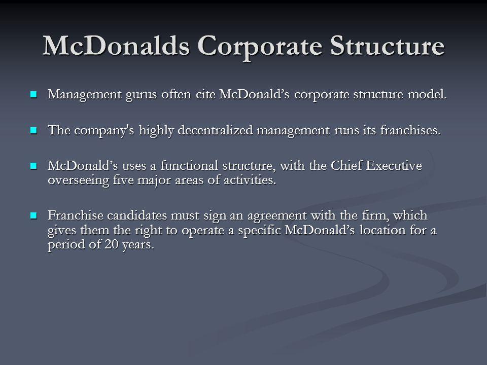 mcdonalds functional areas