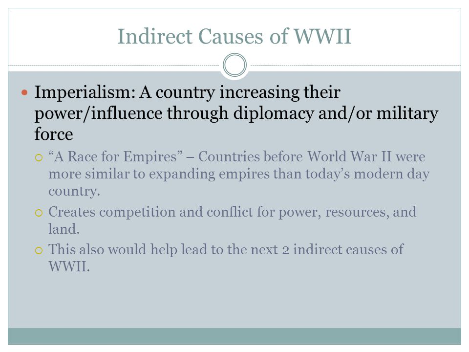 indirect causes of ww1