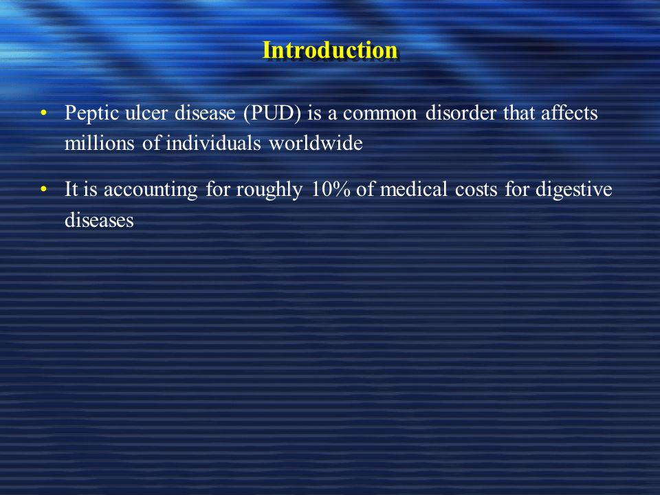 Introduction Peptic ulcer disease (PUD) is a common disorder that affects millions of individuals worldwide.