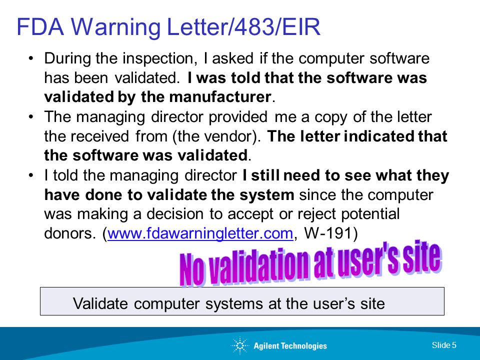 fda warning letters 2 validation of computerized laboratory systems ppt 1219