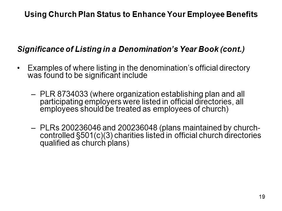 using church plan status to enhance your employee benefits james t