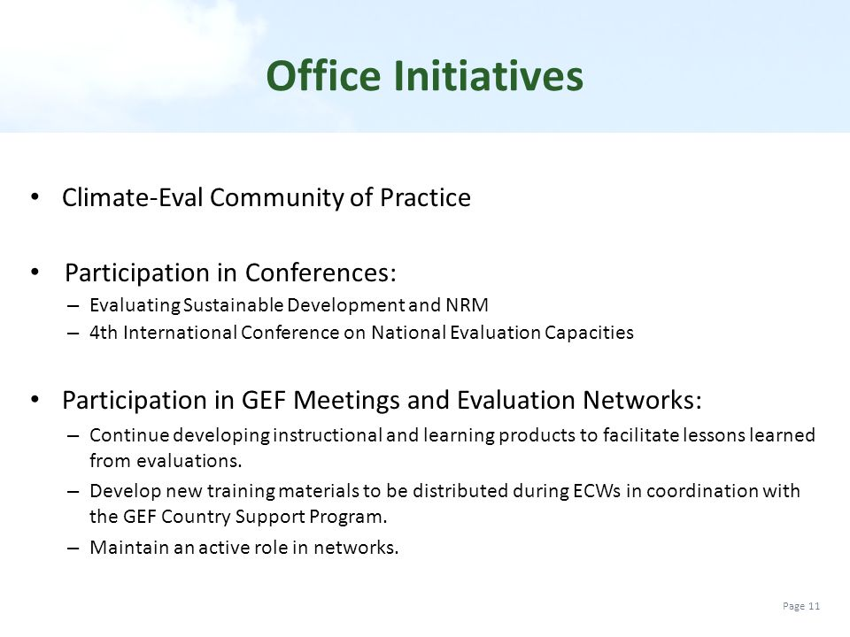 Office Initiatives Climate-Eval Community of Practice
