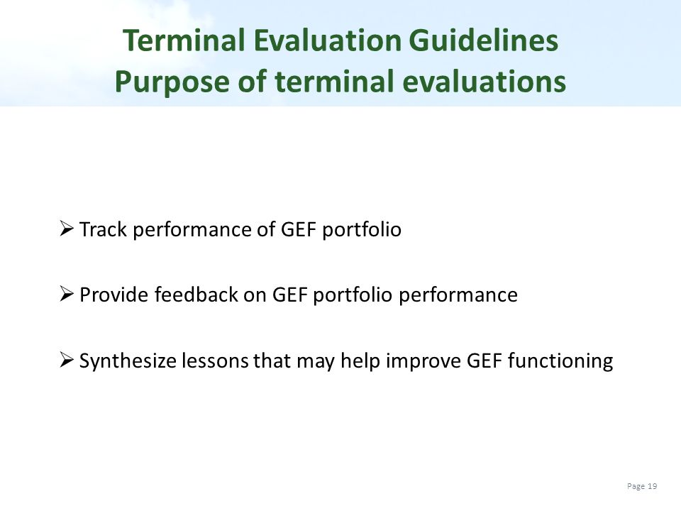 Terminal Evaluation Guidelines Purpose of terminal evaluations