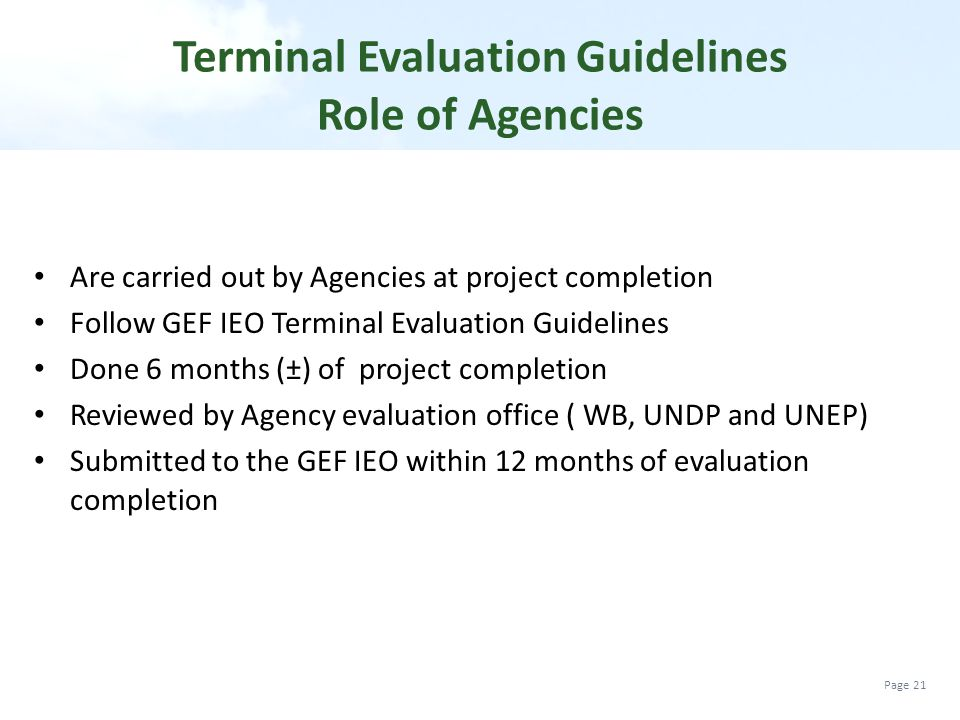 Terminal Evaluation Guidelines Role of Agencies